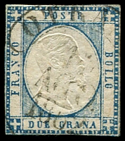 Lot 4301:1861 King Victor Emanuel II SG #10 2g blue, four close or touching margins, slight thin at top, Cat £17