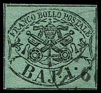 Lot 3933:1852-64 Arms SG #10 1b black/bluish green type II, 4 close or touching margins, appears to be a left column unit, Cat £110.