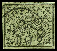 Lot 4303:1852-64 Arms SG #11 2b black/olive-green, 4 margins, Cat £21.