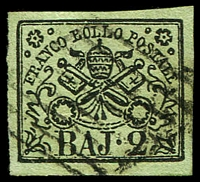 Lot 3934:1852-64 Arms SG #11 2b black/olive-green, 4 good margins, Cat £21.