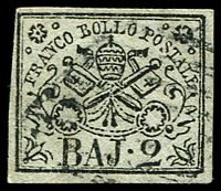 Lot 3935:1852-64 Arms SG #13 2b black/greenish white, 4 margins, Cat £22.