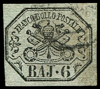 Lot 4305:1852-64 Arms SG #23 6b black/greenish grey, 4 margins, Cat £90.