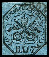 Lot 4306:1852-64 Arms SG #25 7b black/blue, 4 close/touching margins, Cat £90.