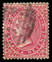 Lot 24065:1865-73 Wmk CA/Crown Sideways F3 1d rose with 'A76 cancel of Spanish Town.