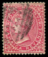 Lot 3859:# 1d rose with 'A76 cancel of Spanish Town.