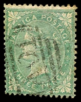 Lot 3846:1860 SG #3 3d green (dull), Cat £25.