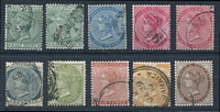 Lot 3847:1883-97 Wmk Crown/CA SG #16-24 ½d to 1/-, extra shade of ½d & 1d rose. (10)