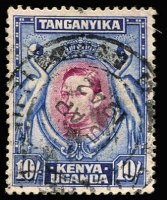 Lot 3879:1938-54 Pictorials SG #149 10/- purple & blue P13¼, Cat £32.