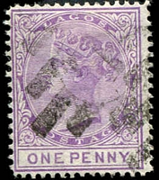 Lot 22020:1876-79 QV Wmk Crown/CC Perf 14 SG #10 1d lilac-mauve, Cat £20.