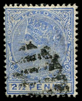 Lot 22021:1887-1902 QV Wmk Crown/CA SG #31b 2½d blue type A, Cat £50.
