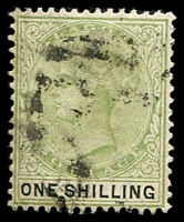 Lot 3888:1887-1902 QV Wmk Crown/CA SG #38 1/- yellow-green & black, Cat £27.