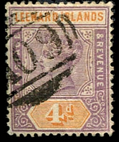 Lot 3881:1890 QV SG #4 4d dull mauve & orange, cancelled with 'A