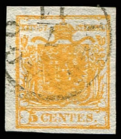 Lot 4288:1850 Arms Hand-Made Paper SG #1d 5c orange 4 margins, light 'LEGNAGO/7/11' cancel, Cat £140.