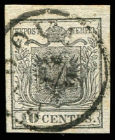 Lot 25312:1850 Arms Hand-Made Paper SG #2a 10c grey-black 4 margins, 'PADOVA/14/9' cancel, Cat £120, Ferchenbauer certificate (1987).