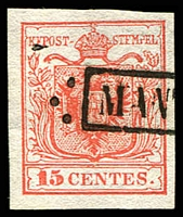 Lot 25313:1850 Arms Hand-Made Paper SG #3 15c red type I 4 margins, boxed 'MAN[TUA]