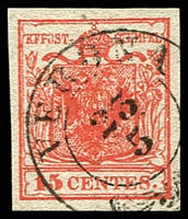 Lot 4290:1850 Arms Hand-Made Paper SG #3 15c red type I 4 margins, d/ring 'VERONA/25/5' cancel, Cat £24
