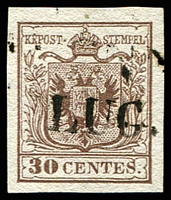 Lot 4291:1850 Arms Hand-Made Paper SG #4 30c brown type I 4 margins, Cat £16