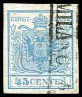 Lot 4292:1850 Arms Hand-Made Paper SG #5 45c pale blue type I 4 margins, boxed 'MILANO 5' cancel, Cat £60