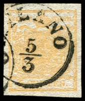 Lot 4287:1850 Arms Hand-Made Paper SG #1c 5c ochre-yellow 4 margins, light [M]