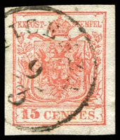 Lot 25315:1854-57 Arms Machine-Made Paper SG #7 15c red type III 4 margins, '[V]