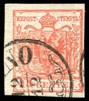 Lot 25317:1854-57 Arms Machine-Made Paper SG #7 15c red type III 4 margins.