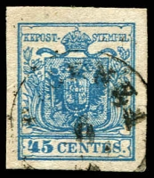 Lot 4296:1854-57 Arms Machine-Made Paper SG #9 45c blue type III 4 margins, Cat £27.
