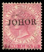 Lot 24595:1884-91 'JOHOR' On Straits Settlements SG #10ca, 2c bright rose with thin J in ovpt, Cat £200.