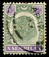 Lot 25560:1895-99 Tiger SG #11 15c green & violet, Cat £90.
