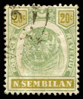 Lot 25225:1895-99 Tiger SG #12 20c green & olive (faded), Cat £40.