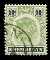 Lot 25561:1895-99 Tiger SG #14 50c green & black, Cat £70.