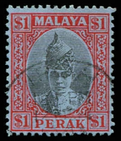 Lot 3937:1938-41 Sultan Iskander SG #119 $1 black & red/blue, Cat £32.