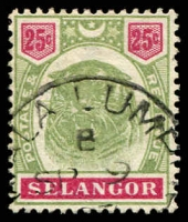 Lot 3940:1895-99 Tiger SG #58 25c green & carmine, Cat £65. (3)