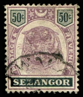 Lot 25610:1895-99 Tiger SG #59 50c dull purple & greenish black, Cat £35.