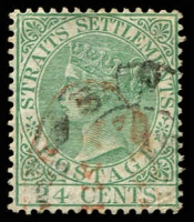 Lot 3896:1867-72 Wmk Crown/CC SG #16 24c blue-green.
