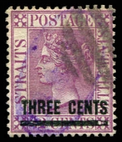 Lot 3902 [2 of 3]:1885 Surcharges SG #83,83a 3c on 12 pale magenta & 3c on 12c deep magenta x2. (3)