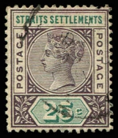 Lot 3903:1892-99 SG #103c 25c dull purple & green.