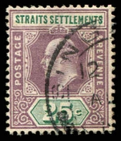 Lot 3904:1902-03 Wmk Crown/CA SG #116 25c dull purple & green, Cat £11.