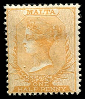 Lot 3923:1882-84 Wmk Crown/CA SG #18 ½d orange-yellow, Cat £40.