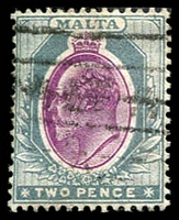 Lot 3949:1903-04 KEVII Wmk Crown/CA SG #40 2d purple & grey