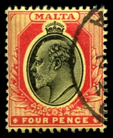 Lot 3950:1904-14 KEVII Wmk Mult Crown/CA SG #55 4d black & red/yellow