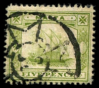 Lot 3925:1904-14 Wmk Mult Crown/CA SG #60a 5d deep sage-green Galley, Cat £14.
