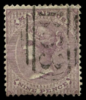 Lot 4140:1860-63 No Wmk SG #51 9d dull purple, Cat £42.