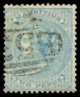 Lot 3931:1863-72 Wmk Crown/CC SG #59 2d pale blue, Cat £13.
