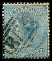 Lot 4143:1863-72 Wmk Crown/CC SG #60 2d bright blue, Cat £13.