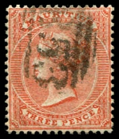 Lot 3957:1863-72 Wmk Crown/CC SG #61a 3d dull red, Cat £21.