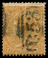 Lot 3959:1863-72 Wmk Crown/CC SG #70w 1/- orange Wmk inverted, Cat £70.