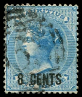 Lot 3934:1878 Surcharges SG #85 8c on 2d blue.