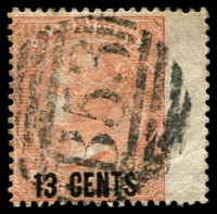 Lot 3960:1878 Surcharges SG #86 13c on 3d orange-red wing margins, Cat £50.