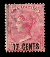Lot 3961:1878 Surcharges SG #87 17c on 4d rose, cancelled with '10
