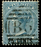 Lot 3935:1878 Surcharges SG #88 25c on 6d slate-blue